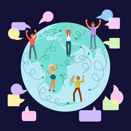 Global communications concept. Social network and teamwork on map globe background for web and infographic. Flat Art Vector illustration