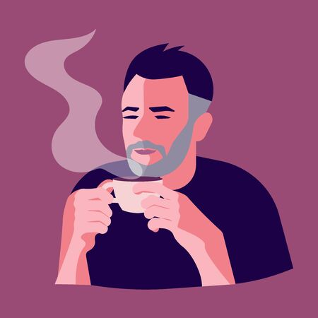 Handsome bearded brunette man with Cup of coffee. A hot beverage Concept for Restaurants and coffee shops. Flat Art Vector illustration