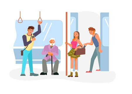Diverse passengers using their mobile devices in Public transport. Pickpocket takes a wallet from a handbag of a scattered woman. Flat Art Vector illustration