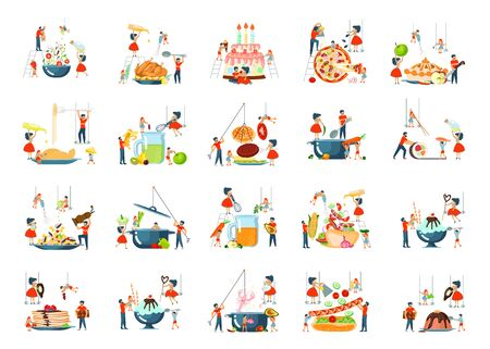 Happy family cooking together set for cooking master class in flat. Dad, mom, daughter, son enjoys of cookery. Flat Art Vector illustration