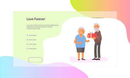 Web page of healthy active lifestyle retiree for grandparents. Elderly people characters.  Grandparents family Seniors isolated on white background. Flat Art Vector illustration