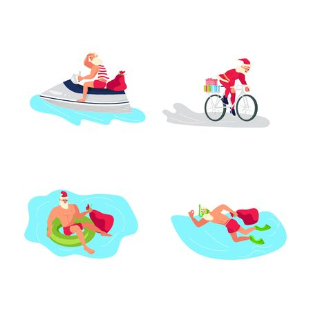 Set of Young sporty Santa Claus brings gifts to children all over the world concept. Cute Santa characters isolated on white. Christmas is everywhere.  Flat Art Vector illustration