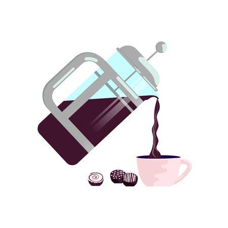 Pot and coffee mug isolated on white background. Flat Art Vector illustration Çizim