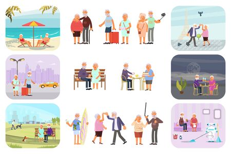 Big set of healthy active lifestyle retiree for grandparents. Elderly people characters. Grandparents family Seniors isolated on white background. Flat Art Vector illustration