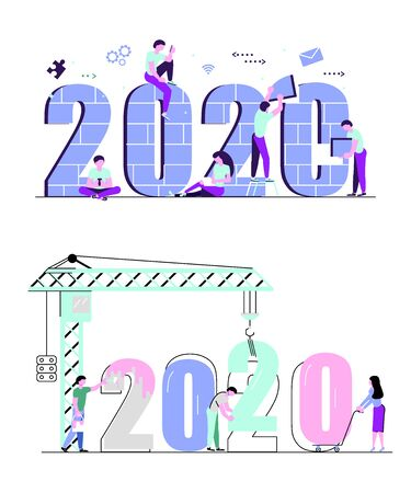 Set of  banners with People, man and woman building a numbers 2020, in flat modern style. preparing to meet the new year. Office Team are preparing to meet the new year. Flat Art Vector illustration