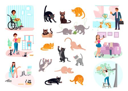 Big Bundle of Cats daily life. Concept of People with favorite pets. Flat Art Vector illustration