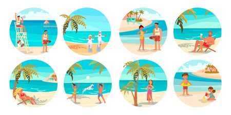 Set of People on the beach. Men and women characters on summer vacation in cartoon style. Isolated on white background. Flat Art Vector illustration