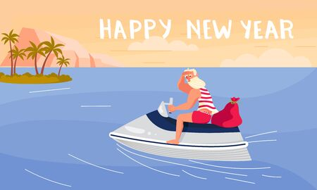 Merry Christmas and Happy New Year card! Young athletic Santa Claus on a motorboat at the tropical sea resort isolated. Flat Art Vector illustration