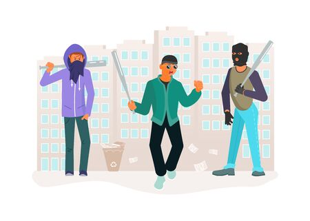 Horror gang of criminals on city street. Young ghetto guys are threatening baseball bats. Crime concept. Flat Art Vector illustration