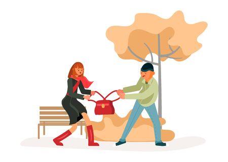 Ein Mann raubt einer jungen Frau, die allein geht, eine Tasche. Mädchen widersteht Dieb. Kriminalität Konzept. Flache Kunst-Vektorillustration
