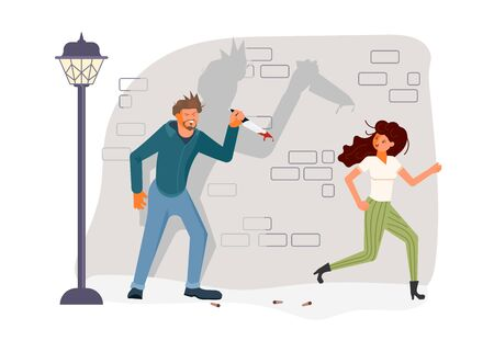 Horror maniac with bloody knife chasing a frightened victim. Woman running away from Man with dagger in blood spatter. Gloating killer and girl at night on the street. Flat Art Vector illustration Illustration