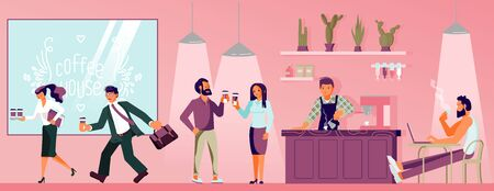 People in coffeeshop drinking coffee, office workers running with coffee-to-go, barista makes beverage. Flat Art Vector illustration