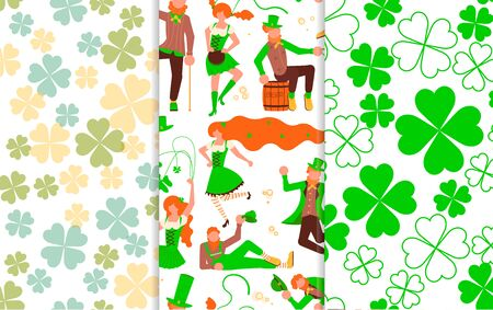 Set of Abstract seamless pattern with green shamrock shapes and leprechauns with mugs of beer dancing. St Patrick's Day background. Flat Art Vector illustration