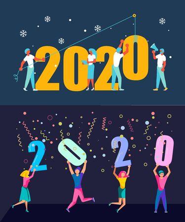 Set di banner con persone, uomo e donna che costruiscono un numero 2020, in stile piatto moderno. preparando ad affrontare il nuovo anno. Office Team si prepara ad affrontare il nuovo anno. Illustrazione vettoriale di arte piatta