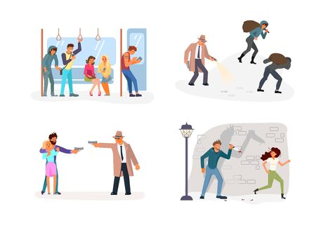 Criminal set of malefactor. Kidnapers, Burglars, Thieves, their victims and detective isolated. Flat Art Vector illustration Illustration