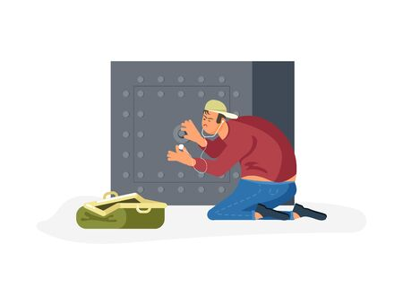 Robber tries to crack a safe using a phonendoscope, next to an open bag for looted money. Flat Art Vector illustration