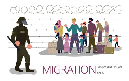 Landing page template. Refugees people behind barbed wire, in the foreground a policeman guards the border. Isolated on white background. Flat Art Vector illustration Иллюстрация