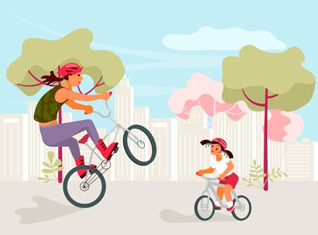 Mother and daughter are riding bikes. City summer family activity. Flat Art Vector illustration