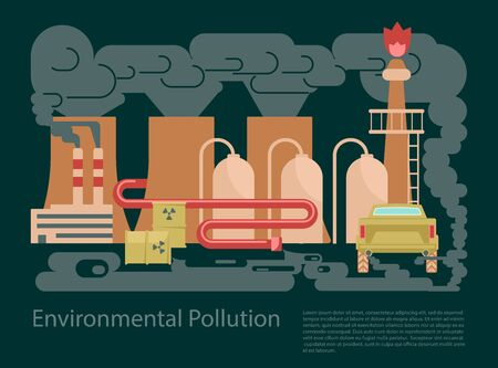 Pollution ecological environmental concep banner. Hazardous radioactive, industrial and housekeeping waste. Flat Art Vector illustration