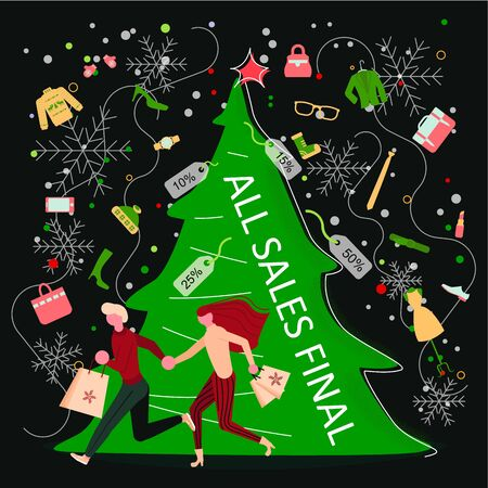 Square Banner for Christmas sale. People running after shopping, tearing off discount coupons from a Xmas tree. Flat Art Vector illustration