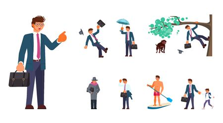 Set of man character in different situations. Businessman at work, running away from a dog, slipped and falls, in the rain, in swimming trunks on the sea and more. Flat Art Vector illustration Standard-Bild - 133311284