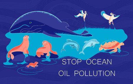 Stop ocean oil pollution banner. Sea animals marine animals die from oil slick on blue background concept.