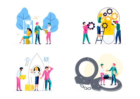 Set of Business people, man and woman building a new idea, in flat modern style. To join in a merger make a deal or collaborate concept. Flat Art Vector illustration
