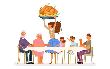 Thanksgiving family dinner. Happy people eat together and make conversation. Grandparents, kids and dad sitting at the table. Mom is serving traditional roasted turkey.