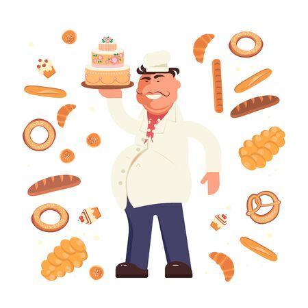 Lustiger Bäckercharakter hält einen Kuchen, der auf weißem Hintergrund lokalisiert wird. Rund um verschiedene Brote und Brötchen. Vektorgrafik