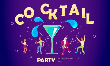Flyer for night cocktail party. Neon sign, bright alcoholic signboard, light banner.