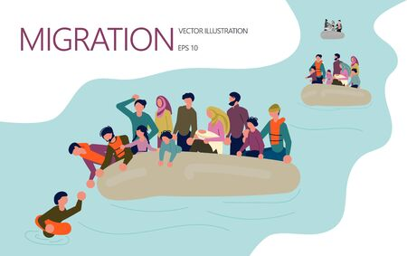Landing page template. Refugee families with children try to get to the other side by boat. Isolated on white background.