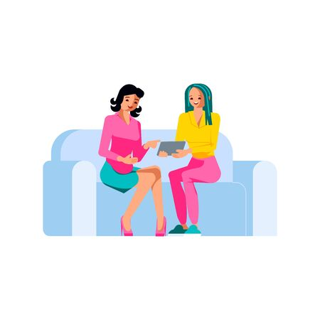 Two Businesswomen Meeting on the sofa. Female characters negotiating, interviewing or gossiping with a laptop. Freelancer or blogger isolated on white background