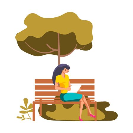 Beautiful brunette woman on the park bench. Young female freelancer  character is working outside. Illustration