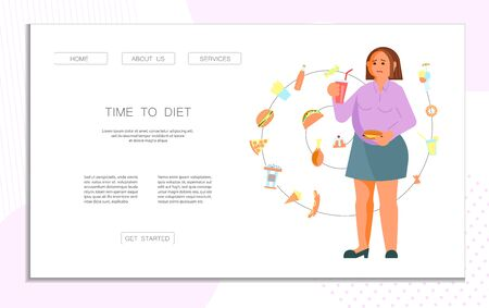 Landing web page template for diet and proper nutrition for fat people. Body positive concept. Ilustracja