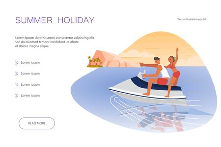 Landing web page template wiw Tropical Dream scene. People on summer vacation concept. A young man and woman race to a beautiful island in the sea on aqua bike.