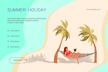 Landing web page template with Dream scene with Beautiful beach. A young woman lies on a Hammock between two palm trees and relaxes. 矢量图像