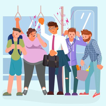 Diverse passengers using their mobile devices in Public transport. Man is cramped on the subway. Bad luck and stressful situations concept. Flat Art Vector illustration