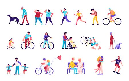 Bundle of  People walking with pets and children, playing, doing sport, riding a bike. Crowd isolated on white background. Flat Art Vector illustration Ilustrace