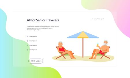 Web page of healthy active lifestyle retiree for grandparents. Elderly people characters.  Grandparents family isolated on white background. Senior Travel Tips web page. Flat Art Vector illustration