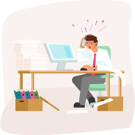Tired employee having a lot work. Speaking by telephone and simultaneously searching on computer info sitting at the work table. Bad luck and stressful situations concept. Flat Art Vector illustration