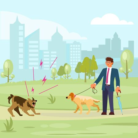 Man walks with a dog in the park, a huge aggressive mongrel attacks. Bad luck and stressful situations concept. Flat Art Vector illustration