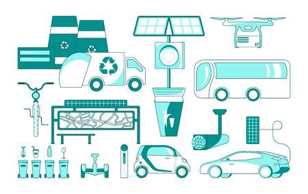 Eco and environmentally friendly icons. Solar energy city, Solve polution problem. Flat Art Vector illustration