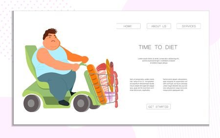 Landing web page template for diet and proper nutrition for fat people. Body positive concept. Flat Art Vector illustration Standard-Bild - 134450880
