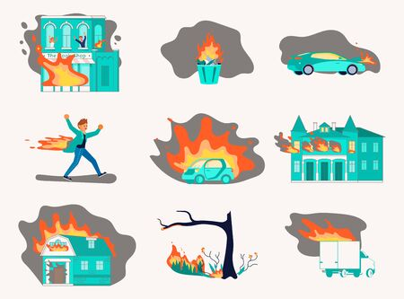 Bundle of fire and burning. Fiery House, forest and car, garbage burn, stuntman aflame isolated on white set. Flat Art Vector Illustration