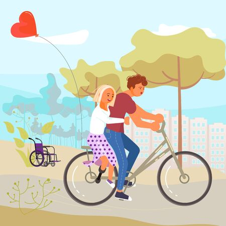 Disabled girl without leg threw a wheelchair and rides a bicycle with a young man. Flat Art Vector illustration 向量圖像