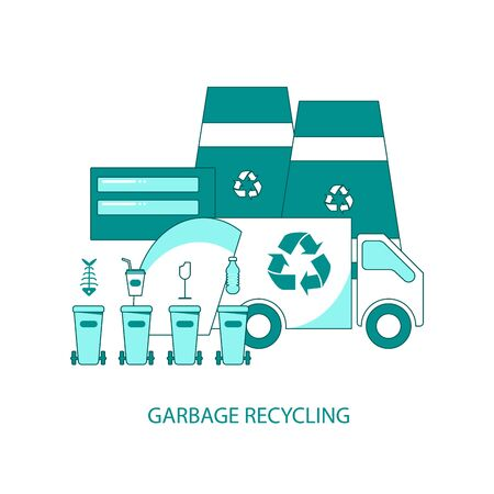 Garbage recycling icons isolated on white background. Rubbish containers, trash car and plant. Flat Art Vector Illustration