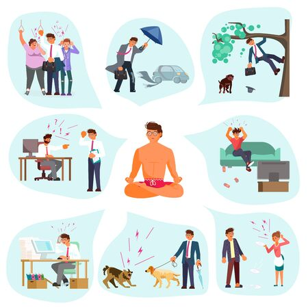 A man sits in a lotus position and meditates. Situations of stressful and failure around him.  Male character experiences stress in everyday life. Flat Art Vector Illustration