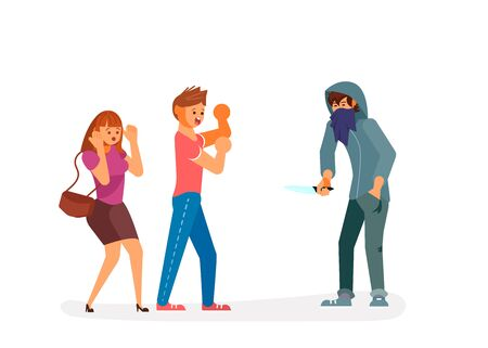 A robber with bloody knife is threatening to a young couple on the street. Frightened character guy protects his girlfriend from a bandit. Crime concept. Flat Art Vector illustration