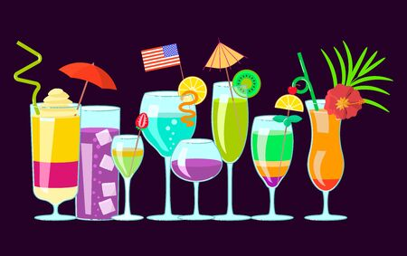 Horizontal banner with exotic alcoholic cocktails in flat design. Flat Art Vector Illustration
