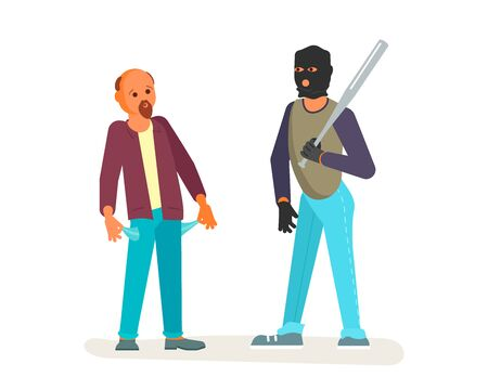 A robber in black mask with a baseball bat is threatening to a man on the street. Frightened character turns his pockets out and shows a lack of money. Crime concept. Flat Art Vector illustration